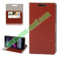 New Arrival Leather Case Cover for Sony Xperia Z1S with Credit Card Slots and Holder