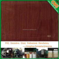 high gloss colored wood grain pvc vinyl film for furniture laminate