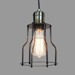 vintage Antique brass cage pendant light edison bulb lamp bronze retro lighting China supplier