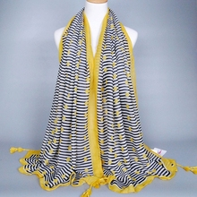 Fashion Office Ladies Tie Scarf With Tassel Cotton Voile Scarf