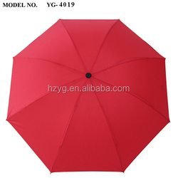 21'' fashion 8 fiberglass&aluminium ribs three folding mannualopen umbrella for rain