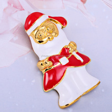 50*30mm Unique Design Personalized Enamel Christmas Santa Claus Brooch Pin