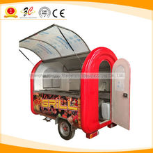 2015 China CE electric or gas stainless mobile hot dog cart and crepe street fast food vending trailer for sale with big wheel