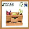 Wholesale wood craft FSC handmade unfinished bamboo pen holder bamboo desktop box