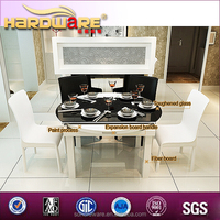 Exported glass top table and PVC chairs/canton fair MDF table and dining chair