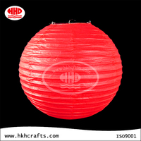 Bright red round collapsible regular steel pendent rice paper ball lamp shade