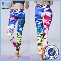 Yihao Custom Women Fashion 3D Colorful Fitness Gym Wear Printing Leggings Plus Size 2015
