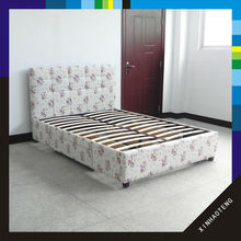 xiamen new design home furniture fabric bed frame with two drawer