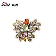 Lady Dazzle Color Zircon Alloy Butterfly Brooches Fashion Accessories
