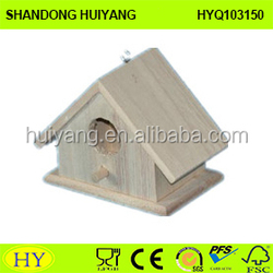 2015 Natural Unfinished Eco-friendly FSC Hanging Wooden Bird Cage, Wooden Bird House,