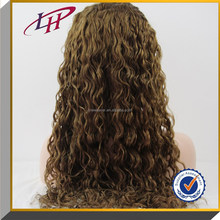 Best selling 2015 Afro jerry curly 100% Brazilian virgin human hair ,long wig blonde &brown full lace wigs