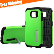 TPU+PC Kickstand Armor Case Cell Phone Protective Heavy Duty Case For Samsung galaxy S6 With Free Shipping