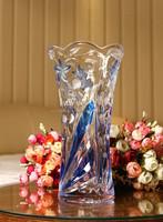 Colored crystal grade glass vase/Flower carved glass vase/Blue/red/Purple
