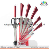 Hot sale knife set! 8 pcs stainless steel kitchen knife set with acrylic stand