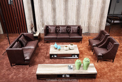 2015 modern furniture 3 2 1 sofa leather HD326 with buttons from foshan