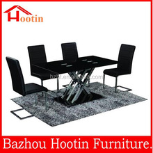 2014 new design fashion Toughened glass dining table and leather chair