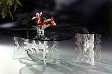 Modern glass top perspex butterfly base oval dining table for home