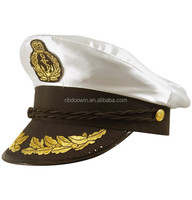 High quality satin captain hat naval officer peaked cap