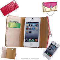 New Arrival Stick drill Luxury wallet pattern leather case for iphone 4 4s,detachable case for iphone 4 4s with chain