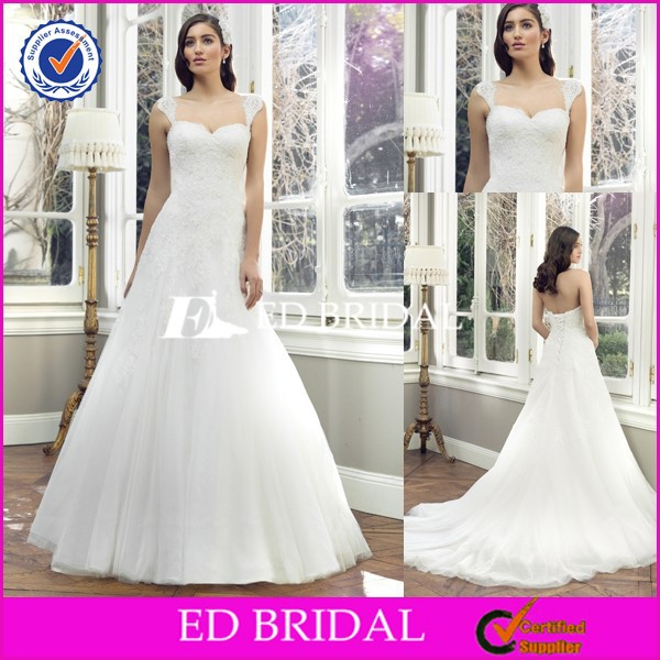 Mh51 A Line Detachable Straps Sweep Train Tulle Lace Sleeves To Add To Wedding Dress