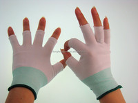 dust free cleanroom working glove 15 gauge half finger knitted nylon glove liners