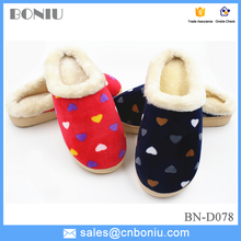 2015 New Arrival Cotton Slippers Hearts printed side stitching home slipper shoes