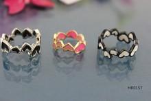 2015 Fashion jewelry HR0157 cheap plastic acrylic colored epoxy heart o rings