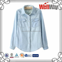 OEM 100% cotton slim fit light blue denim jeans shirt