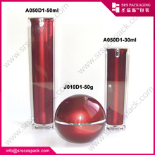 Manufacturers wholesale fashion plastic red acrylic cosmetic face cream jar for skin care container