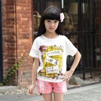 2016 hot sale kids short sleeve girls clothing dress for summer
