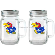 NCAA 16 oz Kansas Jayhawks Glass Jar with Lid and Handle