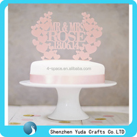 Mr and Mrs Wedding Cake Toppers Heartshaped Design Personalized with YOUR Last Name