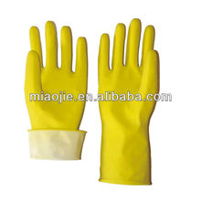 yellow cleaning latex flock dipped household gloves