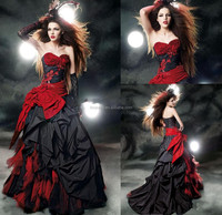 custom made dress Black and red wedding gown beads appliques bow sash ruffles A line bridal dress fmg11