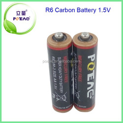 Environmental-friendly UM3 R6 AA Size Battery 1.5V Carbon Battery Made in China