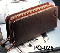 Men's double zipper leather wallet human plaid handbag