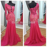 Popular Mermaid Appliques Lace Chiffon sexy one sleeve evening dress 2015 Custom made Real photos Evening gowns zuhair murad