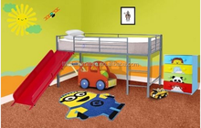 modern bunk beds with slide,kids loft bed with slide,kids beds with slide
