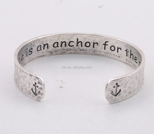 Hammered vintage hope is an anchor for the soul cuff bracelet