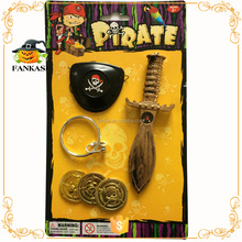 Plastic pirate gold coins+earrings+coins+eye patch+swords set