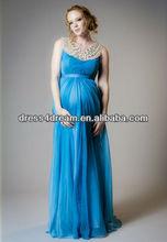 Dernières robes de soirée pour les femmes enceintes en mousseline de soie tencel avec perles