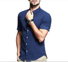 Men ' s camisas de lino corto manga más reciente diseño de la camisa para hombre 2015