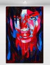 Knife painting portrait of man handmade pop art oil painting on canvas with frame