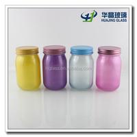 400ml spray colored mason glass candy storage jar with screw cap