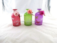 2015 Elegant Decorative Colored More color Glass Vase with flower and decal