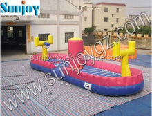 funny high quality bungee run inflatable basketball game with basket for sale