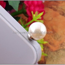 pearl anti dust plug earphone jack cap mobile phone accessories