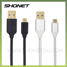 wholesale nylon braided silver black micro usb data cable