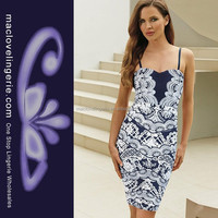 ML18178 Blue And White Vintage Patterns Spaghetti Embroidery Dresses For Women