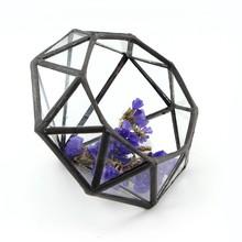 black tin frame ,nickle free , lead free material diamond shape hanging glass vase